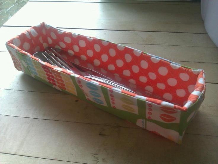 Michael Miller fabric cutlery basket