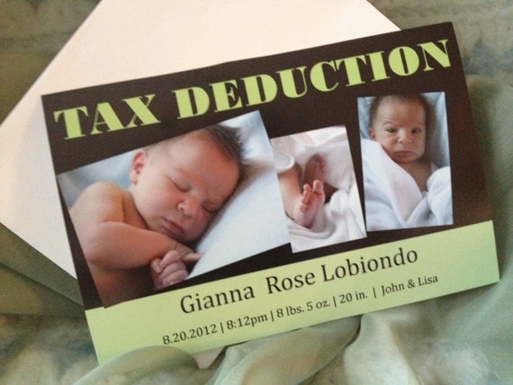 Funny birth announcement  Tax deduction by UptownPartyDesigns, $25.00