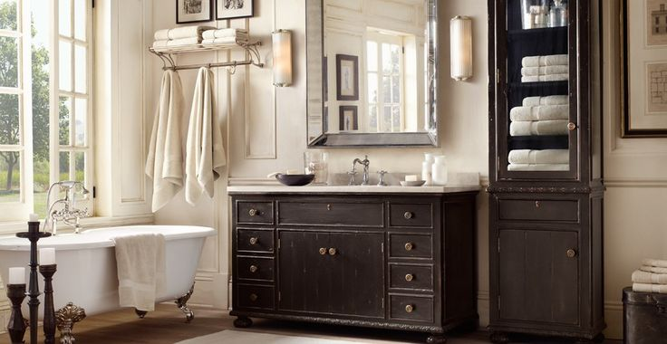 Or this color scheme with dark chocolate cabinets white for Restoration hardware bathroom cabinets