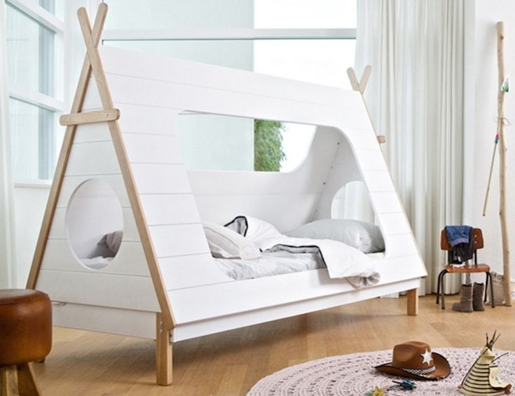 The teepee tent bed from Woood is made from FSC-certified pine and is the ultimate place for kids to powwow and recharge, inspired by the outdoors.