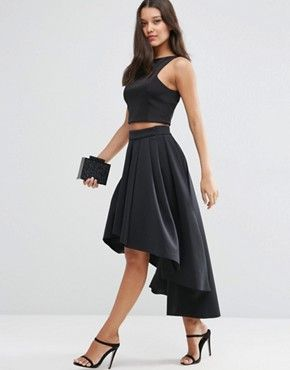 "ASOS Premium Scuba High Low Prom Skirt $78.00 Lightweight scuba fabric  Stretch waist  High-low hem  Regular fit - true to size Machine wash 88% Polyester, 12% Elastane  Our model wears a UK 8/EU 36/US 4 and is 175cm/5'9"" tall"