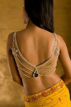 Bejeweled blouse saree