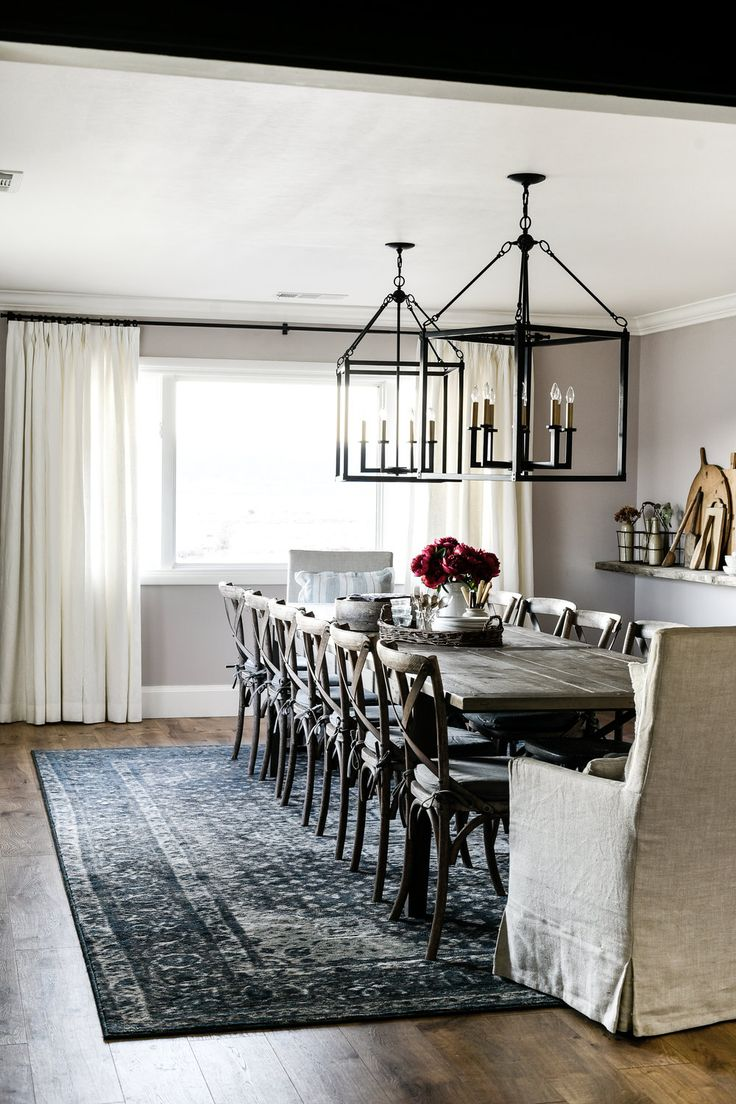 Pink dining room with oversized table & lights, floating shelf | boxwoodavenue.com