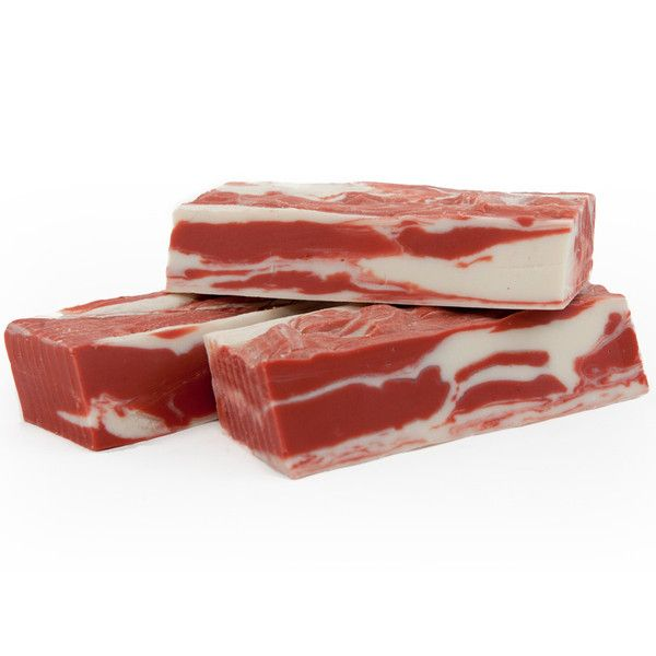 OMFG IT'S BACON SOAP. It looks like bacon and it smells like bacon, but it tastes nothing like bacon and is quite cleansing! Who doesn't love BACON?!! Even your