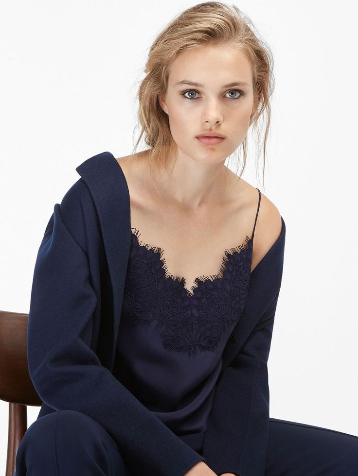 Massimo Dutti silk top with lace detail