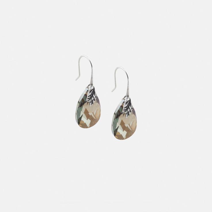 E2725 #Crystal #bronze shade #Swarovski drop #earrings with burnished #silver leaf detail - www.miglio.com