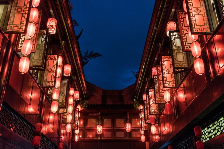 Red lanters decorating Jinli ancient street in Chengdu, Sichuan Province, China --- Night Low Angle View Illuminated Architecture Red Built Structure No People Hanging Outdoors Sky Lantern Lanterns Jinli Street Ancient Travel Destinations Famous Place Asian  China Sichuan Chengdu Traditional EyeEmNewHere