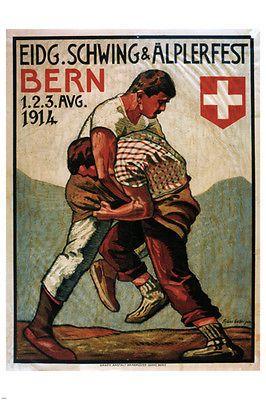 Eidg SCHWING & ÄLPERFEST vintage poster Franz GEHRI Switzerland 1914 24X36