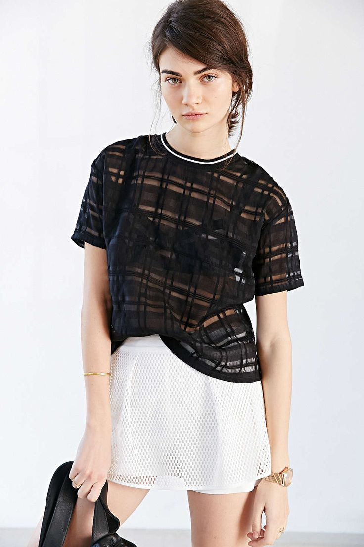 SOLD OUT J.O.A. Sheer Checkered Tee