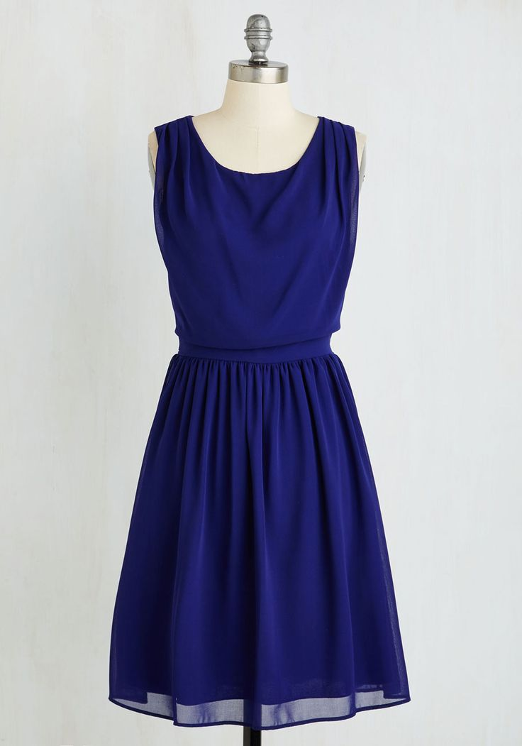 Flaunt Your Jaunt Dress. Gush with the gals about the juicy details of your last excursion over drinks in this charming, sapphire blue frock! #blue #modcloth
