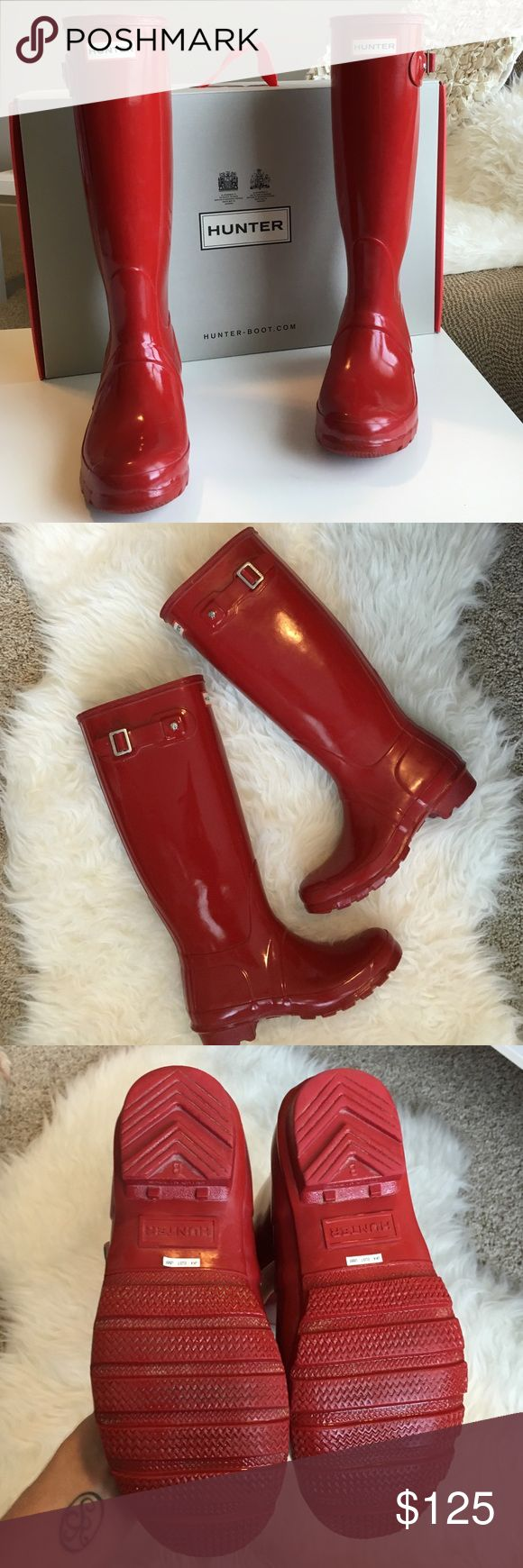 Hunter Boot - Red Welly Up for sale are the sassy Hunter Boot Welly - Military Red in Gloss finish! Women's size 6. Boots are in great condition! One scuff on the corner of the boot that can easily be buffed out with Hunter Welly Oil. Adjustable side clasp. Love these boots!!! Hunter Boots Shoes Winter & Rain Boots