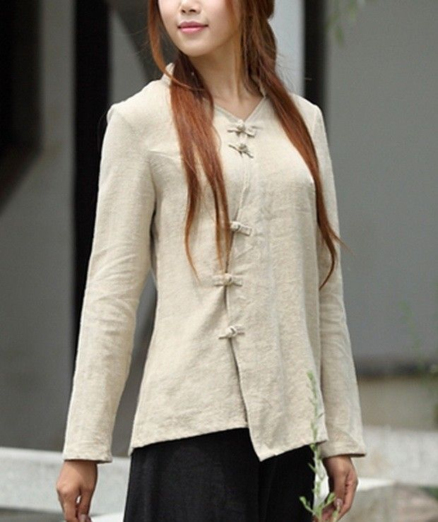 Plait Buttons Irregular Hem Linen Shirt