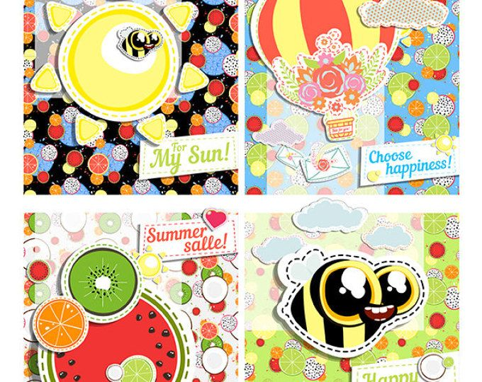 BUY 2 GET 1 FREE any items - 4 Greeting card - Postcard - Printable - Cartoon cute design - Template - Summer Funny Fresh - Balloon - Sun