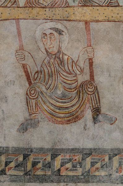 Romanesque fresco of St. Proculus in the church St. Proculus, 7th century, Naturns, South Tyrol, Italy. Notable is the wrong grip to the rope.