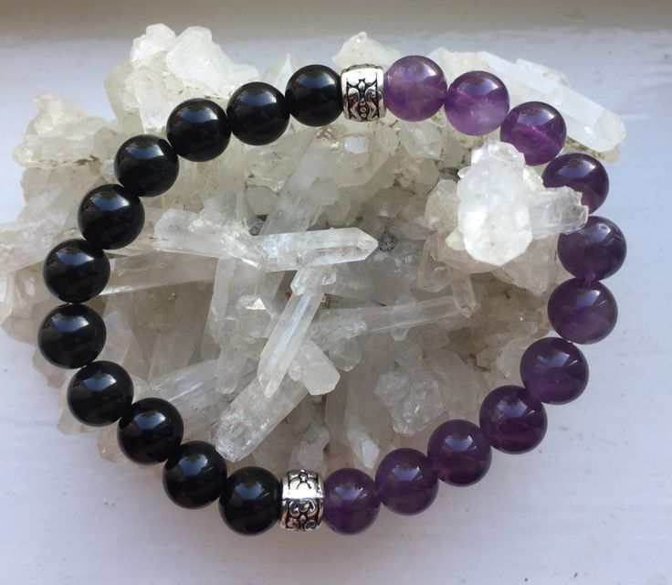 yin and yang obsidian/amethyst or obsidian and Quartz by positivecharmjewels on Etsy