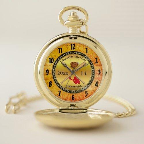 Personalized Baseball Champions League design rd Pocket Watch