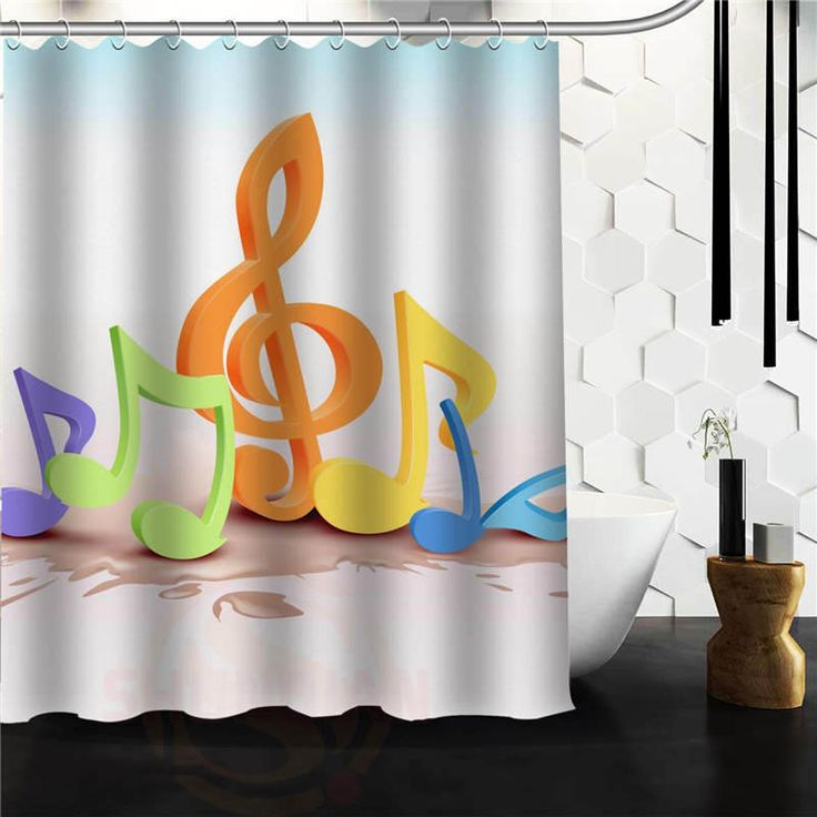 Пользовательские Музыкальная Нота Занавески Для Душа Ванная Комната Продукты Творческой Полиэстер Главная Душ Занавес/Ванная Комната Продукта(China (Mainland))
