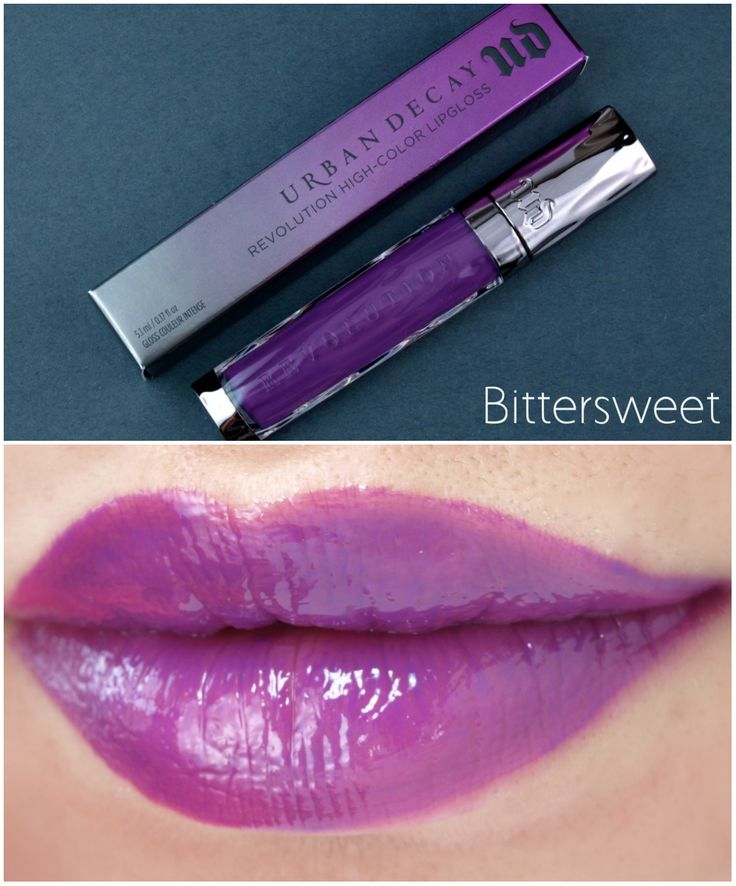 A TRUE Purple lip gloss. Great on cool skin tones.  Urban Decay Revolution High-Color Lipglosses are very pigmented. The silky texture is very moisturizing and non-sticky BITTERSWEET Review and Swatches