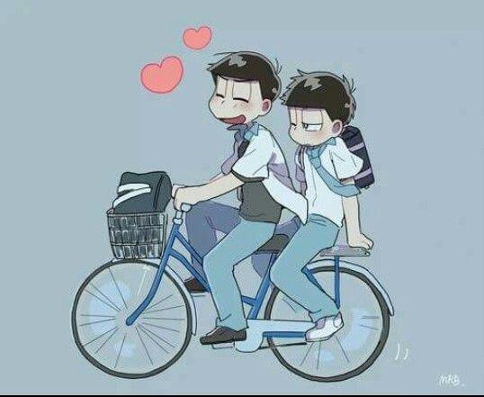 Karamatsu & Ichimatsu on a bicycle so sweet