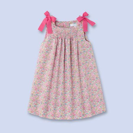 Smocked Liberty print dress for baby, girl