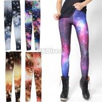 New Women Fashion Leggings Stretch Skinny Leggings Tights Pencil Pants Star Sky Pattern