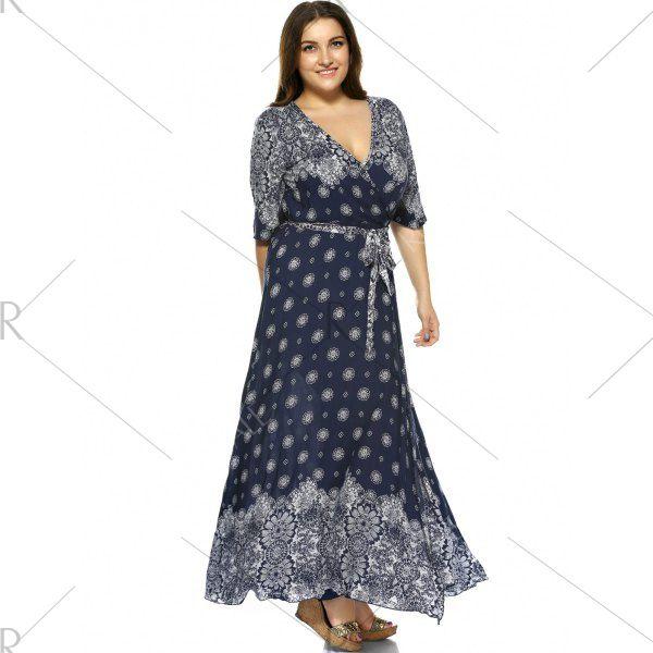 Plus Size Boho Print Flowy Beach Wrap Maxi Dress - Deep Blue 5xl Mobile