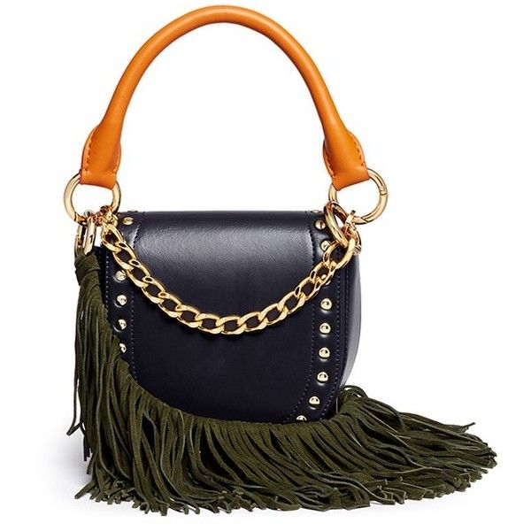 Sacai 'Horse Shoe' fringe strap leather mini saddle bag (1'005 CHF) ❤ liked on Polyvore featuring bags, handbags, shoulder bags, blue, white leather handbags, leather saddle bags, saddle bag, leather handbags and horse saddle bags