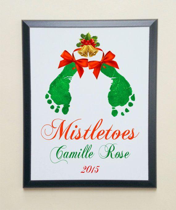 Holiday Mistletoes Keepsake Footprints by SpecialtyCreations4U