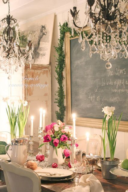 French Country Cottage. Gorgeous.  Centerpiece Idea 2. Love the candels but wrong flowers and vase replace with roses/ carnations in short vase