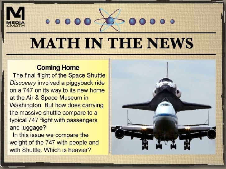 Math in the News: Weekly math activities based around a current event done on slideshare.