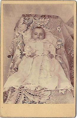Post Mortem Baby; Long White Dress Laying on Lace - Location Unknown