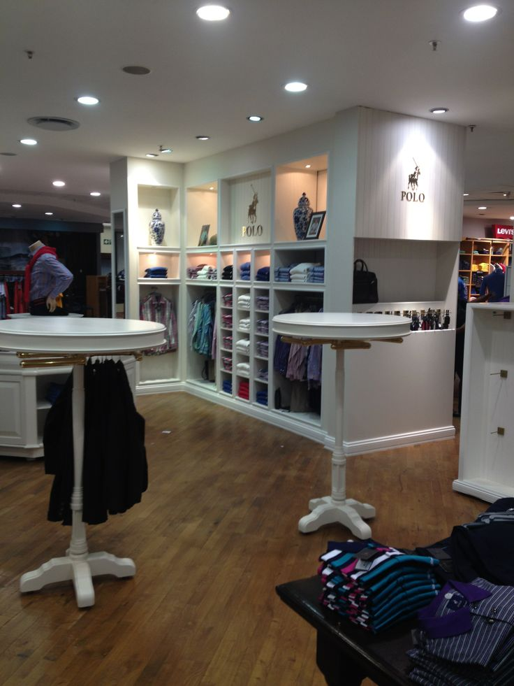 Custom clothes rails for Polo shop in Sandton.