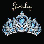 イラスト女性クラウン、ティアラ、青い宝石