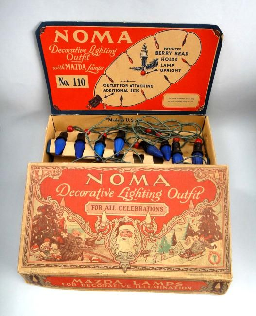 1927 Antique Noma Christmas Lights w Beautiful Orig Box Blue Bulbs