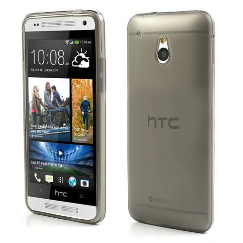 Zwart/transparant mat TPU hoesje voor de HTC One mini