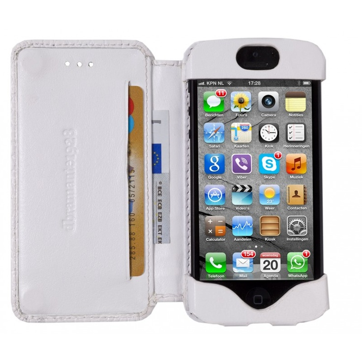 Smooth white, 'open' leather wallet for iPhone 5 by dbramante1928. Price: $50. More information: www.dbramante1928.com.