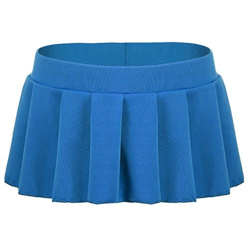 Avidlove Sexy Role Play Pleated Solid Mini Skirt Lingerie Sleepwear XLarge Blue >>> ON SALE Check it Out