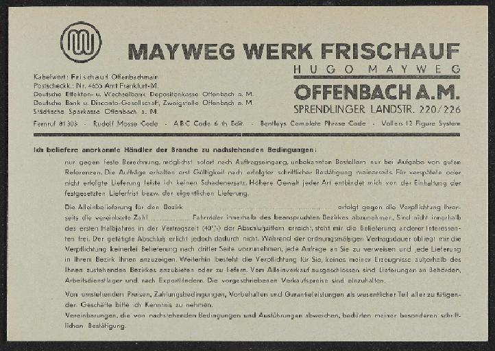 Mayweg Werk Frischauf Preisliste Fahrrader 1936 In 2020 Preisliste Abc Code Leichtmetallfelgen