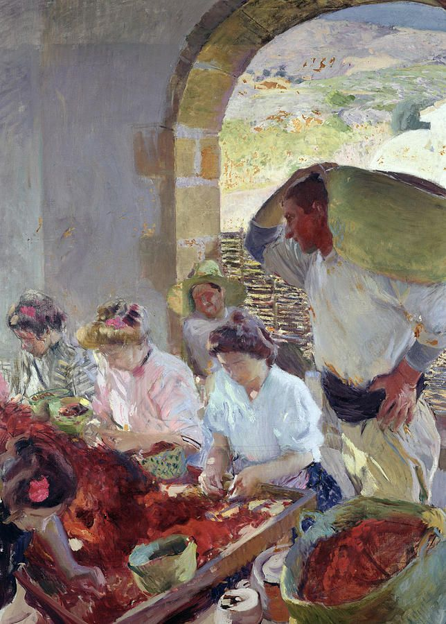kunst - schilderkunst Preparing The Dry Grapes Painting by Joaquin Sorolla y Bastida . dit is een schilderij dat door een spaanse schilder is gemaakt het geeft het leven op het land weer en wat de vrouwen daar moeten doen.