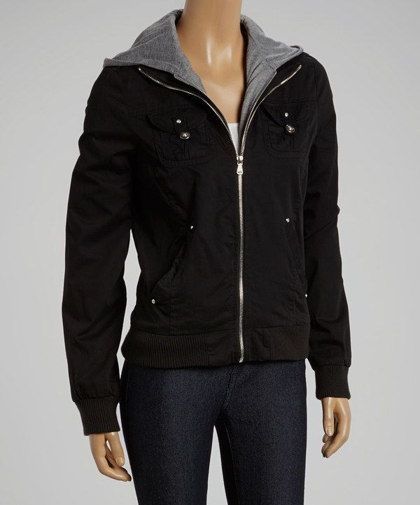 Womens black bomber jacket with hood – Modern fashion jacket photo ...