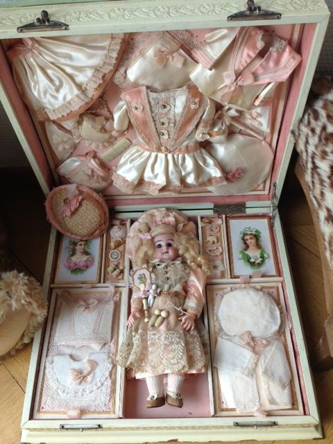 Exquisite French presentation box with antique size 1 doll from whitehortensia on Ruby Lane