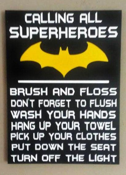 Attention Superheroes bathroom rules wood sign by WordArtTreasures, $15.00