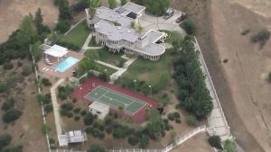 Chris Brown's gated Agoura Hills home is shown on May 7, 2015. (Credit: KTLA)