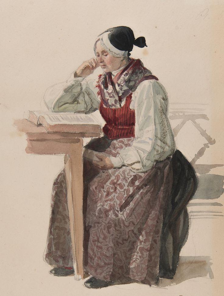 Kvinna i kyrkdräkt, Ljusdahl 1840. Akvarell av J.W Wallander. hälsingland, Sweden.