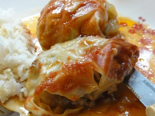 -- Stuffed Cabbage Rolls 1 head of green cabbage 2 pound ground beef ...