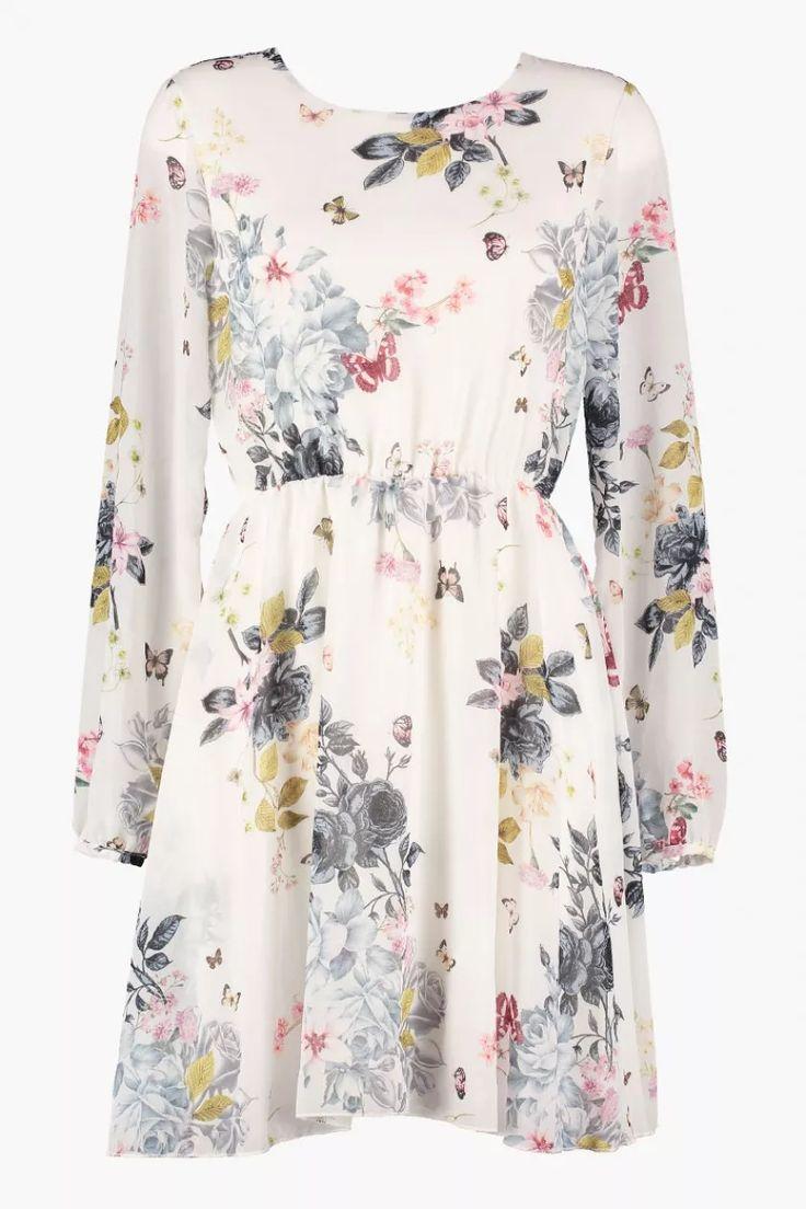 Floyd by Smith Celina kjole hvit blomster sommerfugl hverdagskjoler - Floyd.no