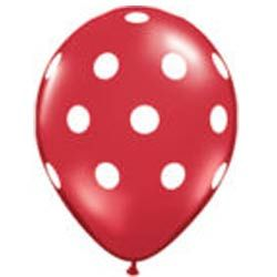 Red and white polka dot balloons http://thecompletekidsparty.com.au/party-decorations/balloons/