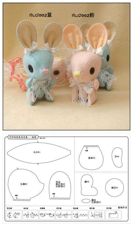 How to Make a Plushie Mouse, Free stuffed Animal Patterns with Printable Mouse Sewing Template 手工制作不织布花花兔 可爱的小兔子玩偶,粉嫩的颜色,大大的耳朵,系上蕾丝花边的大领结实在太可爱了,你也赶紧做一个试试吧!