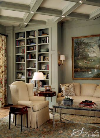 Lovely coffered ceiling and built-in bookshelves.  Interesting that the walls and trim are all painted the same color, but not the interior of the coffers....