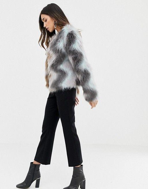 6100f986745 Vila Zig Zag Faux Fur Jacket | Just Coats | Faux fur jacket, Faux ...